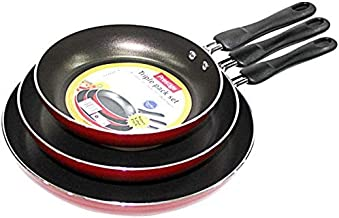 Prestige Aluminum Non-stick Fry Pan Set of 3-Piece, Red PR21784