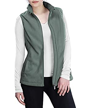 Outdoor Ventures Women s Polar Fleece Zip Vest Outerwear with Pockets,Warm Sleeveless Coat Vest for Fall & Winter Green Gray