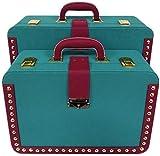 HJTLK Caja de Almacenamiento Pirata de Madera con baúl de Estilo Vintage con portatarjetas de Boda con baúl de Estilo Antiguo, Accesorios Decorativos de Oficina en casa, Juego de 2 Cofre