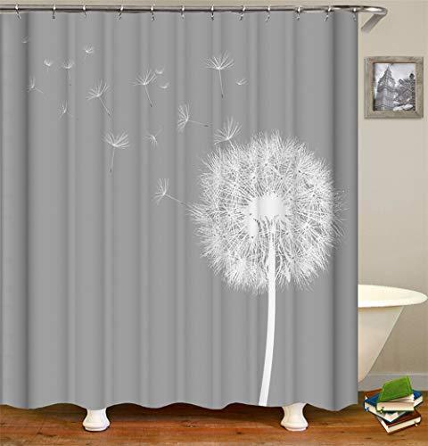 Chickwin Duschvorhang Wasserdicht Anti-Schimmel 3D Süßigkeiten Polyester Bad Vorhang mit 12 Duschvorhangringe für Badezimmer Décor (165x180cm,Grauer Löwenzahn)
