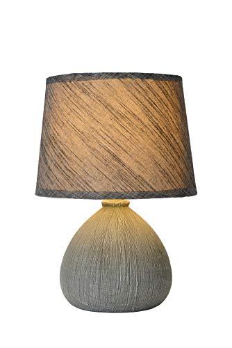 Lucide 47506/81/36 Ramzi Lampe de Table, Céramique, E14, 40 W, Gris, 18 x 18 x 26 cm