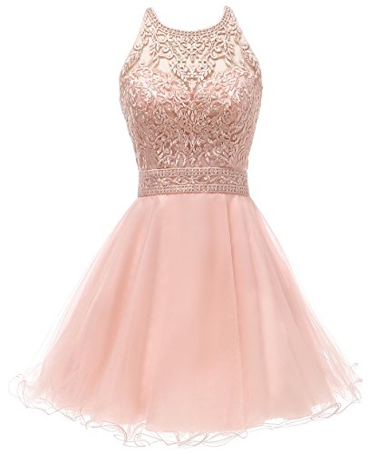Jewel Neck Elegent Lace Beaded A-line Homecoming Dress Juniors Sweet Party Prom Dresses Blush Pink,Size 2