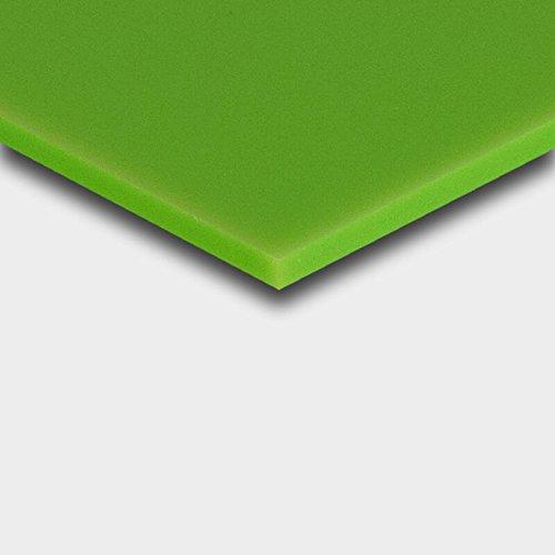 3 mm PLEXIGLAS® grün 6H02 GT, glänzende Oberfläche, 12% Lichtdurchlässigkeit, 10 Jahre Garantie auf Farbechtheit, Maße: 25x25x0,3 cm