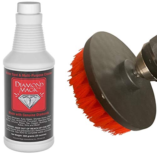 Diamond Magic 20oz Commercial/Janitorial Hard Water Spot Cleaner & Stain Remover Combo Pack w/ 4.5' Drill Brush Accessory