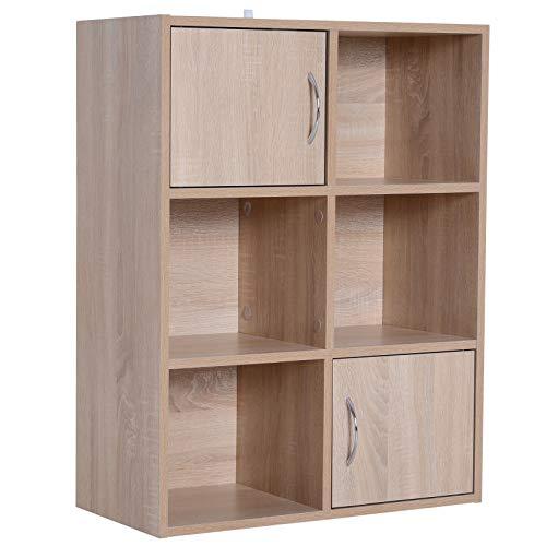 homcom Libreria Scaffale Mobiletto in Legno con 3 Ripiani 4 Scompartimenti e 2 Ante, 61.5x29.5x80cm