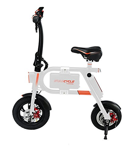 Swagtron SwagCycle E-Bike – Folding Electric Bicycle with 10 Mile Range, Collapsible Frame, and Handlebar Display (White)