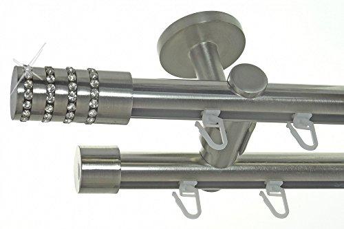 BASIT Innenlauf Gardinenstange Edelstahl Look 20mm Deckenbefestigung, 2-läufig Kristall, Länge wählbar D40 E39E30, Länge:360 cm