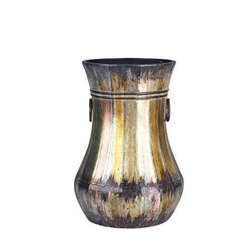 Household Essentials Hand-Painted Metal Floor Vase, 22.5-Inch Tall, Antique Gold