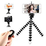 Phone Tripod, Portable Cell Phone Tripod Adjustable Tabletop Tripod Stand with Wireless Remote Flexible Tripod Compatible for iPhone 11 Pro Xs MAX XR X SE 8 7 6S Plus Samsung Android Phones Gopro
