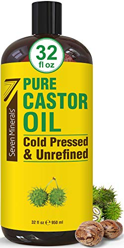 Pure Cold Pressed Castor Oil - Big 32 fl oz Bottle - Unrefined & Hexane Free - 100% Pure Castor Oil for Hair Growth, Thicker Eyelashes & Eyebrows, Dry Skin, Healing, Hair Care, Joint and Muscle Pain