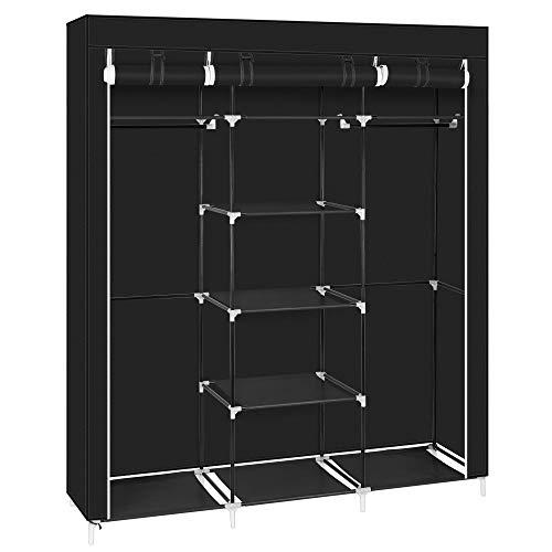ZS ZHISHANG 69' Portable Clothes Closet Non-Woven Fabric Wardrobe Double Rod Storage Organizer Black