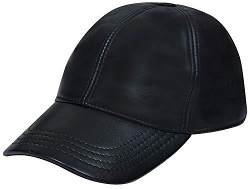 Men's and Women's Real Nappa Leather Black Adjustable Golf Snapback Plain Baseball Cap