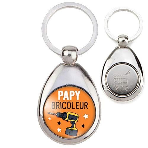 Reloadshop Porte-Clés Métal Papy Bricoleur - Perceuse - Humour Idée Cadeau Homme Grands Parents Anniversaire Fête Jeton Caddie