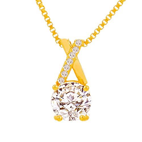 SWAOOS Collar de Oro de imitación de Cristal de circón, Collar de Oro de 24 k para Mujer, joyería Colgante de circonita AAA +