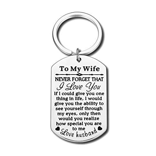 Valentines Gifts Keychain Wedding Birthday to My Wife Girlfriend Wifely from Husband Boyfriend I Love You Personalized Anniversary Couple Gift for Women Her Fiancee Gift
