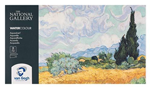 Van Gogh National Gallery Aquarellkasten, 18 Näpfchen und 2 x 10ml Tuben Feine Aquarellfarbe mit Pinsel