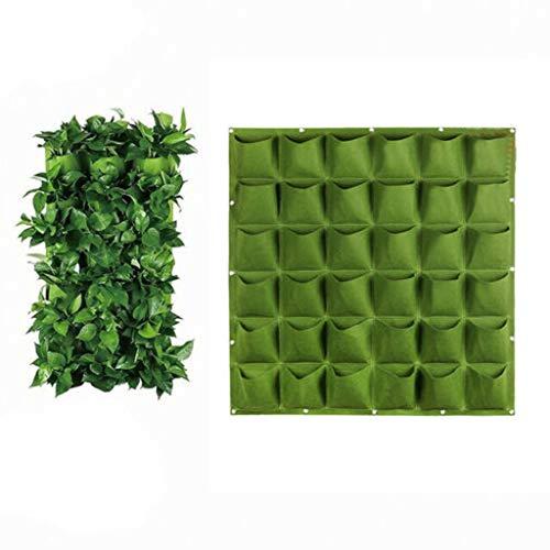 Yue668 - Bolsa de plantación de Pared para balcón, 39 x 37 x 39 cm, Bolsa de Belleza para Pared, Flor, Bolsa para Pared, Verde, Maceta Vertical de 36 Bolsillos