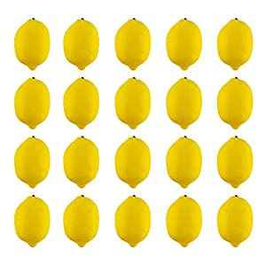 JEDFORE Artificial Lemons Simulation Lifelike Small Lemons Fake Fruit for Home Kitchen Wedding Party Decoration Photography 20pcs Set (Yellow)