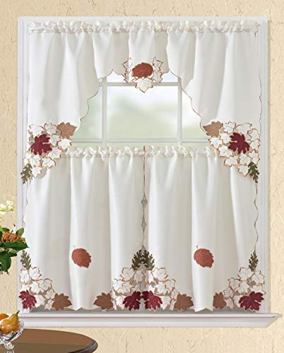 All American Collection Modern Contemporary 3pc Embroidered Home Kitchen Window Treatment Curtain Set (Swag Valance, Beige/Red/Leaves)