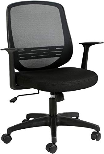 Hbada Sedia da Ufficio Sedia da scrivania ergonomica Sedia Girevole Sedia in Rete Sedia da Lavoro Sedia Leggera con Supporto Lombare sollevabile Nero