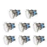 Thlevel 8 Piezas 16mm Momentáneo Pulsador de Metal con LED Acero Inoxidable Impermeable Interruptor de Botón de Encendido/Apagado 3A 12V/24V/36V/125V/250V