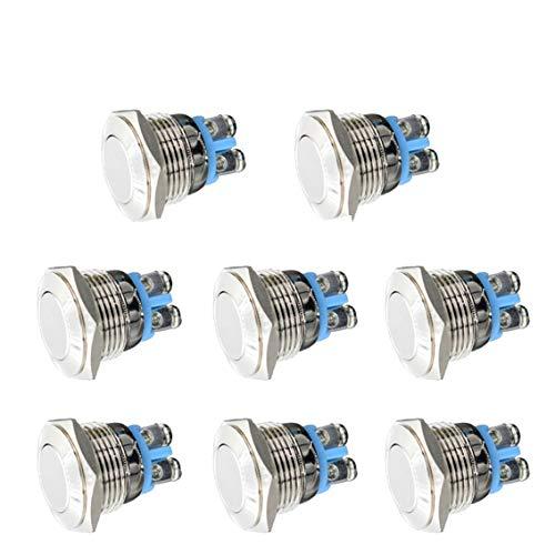 Thlevel 8 Piezas 16mm Momentáneo Pulsador de Botón Metálico, Interruptores de Botón de Encendido/Apagado Acero Inoxidable Impermeable Pulsador para Timbre/Coche/Barco (Plata)