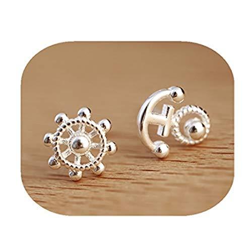 Handmade accessories Kakupao - Pendientes de plata con ancla, diseño de timón, joyería náutica, joyería de playa, joyería de mar