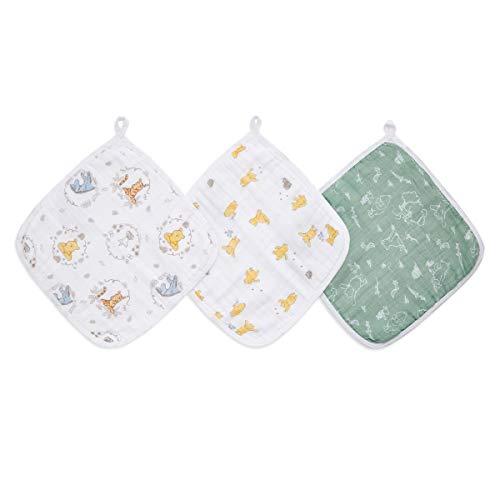 aden + anais essentials - Set de 3 débarbouillettes pour la toilette en mousseline 100% coton - Débarbouillette chic - Douce - Accrochable - Garçon - Fille - Imprimé Winnie + Friends - 30 cm x 30 cm