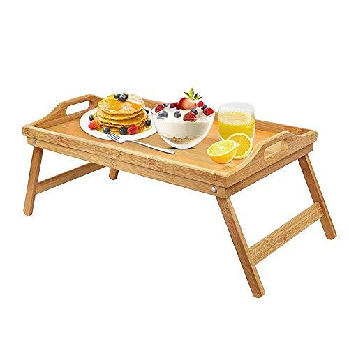 Opvouwbare ontbijttafel, ontbijtdienblad met handgrepen en inklapbare poten, keuken dienblad dienblad, snacklade, draagbare laptoplade (Bamboo)