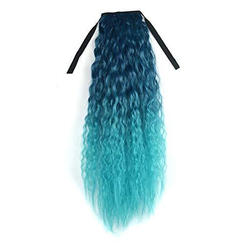 Perruque Femme Extensions de Cheveux de Clip de Queue de Cheval de Ruban de Couleur Dégradé Ondulé Bouclé Longue Queue de Cheval 60cm Sunenjoy