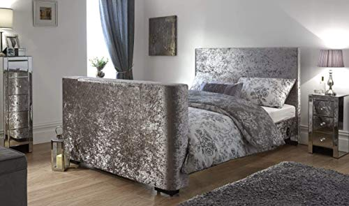 Newark Electric TV Bed - Silver Crushed Velvet - With TV Lift Mechanism (5FT...