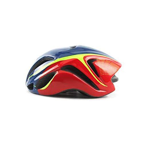 YXDEW Road Racing Triathlon Aero Cycling Helmet Adulte City Mtb Mountain Evade Bike Helmet Safety TT Bicycle Equipment Ciclismo motorcycle (Color : Blue red)