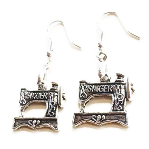 Silver Knight Singer - Pendientes para máquina de coser, alambres de plata 925, me encanta coser, ideas de regalo para costurera bolsa de regalo