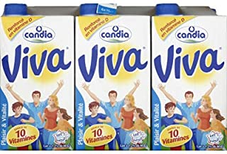 Candia Lait demi-écrémé, stérilisé UHT, 10 vitamines - Les 6 briques de 1L