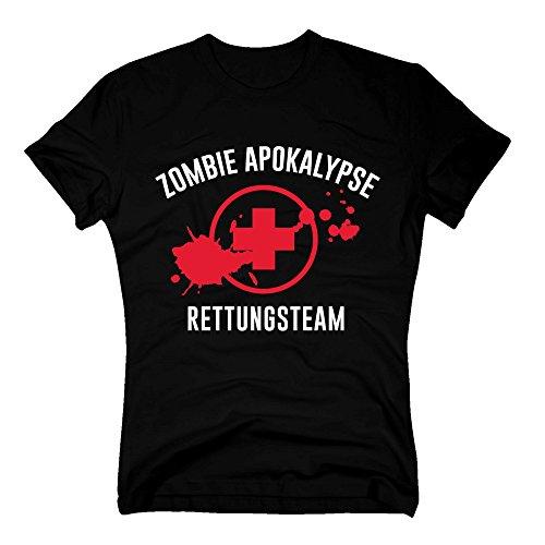 Herren T-Shirt - Zombie Apokalypse Rettungsteam - von Shirt Department, M, schwarz-rot