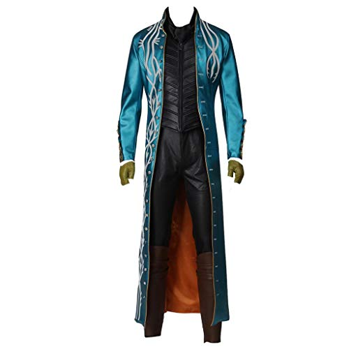 coskey Devil May Cry 3 Vergil Cosplay Costume Outfit DMC Cosplay Leather Jacket Halloween Costumes