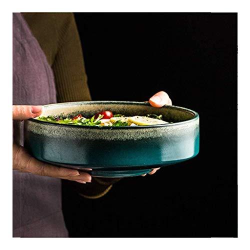 WCS Bowl Céramique bol en céramique rétro dégradé bol vert des ménages de grande capacité ronde Assiette creuse Soupe Dessert Ramen Bowl Art de la table japonaise (Color : 8 Inches)