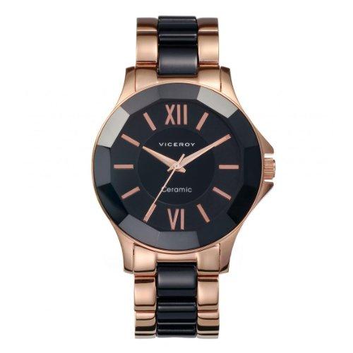 Viceroy 40754-53 Reloj de mujer de cerámica negra y dorado color cobre