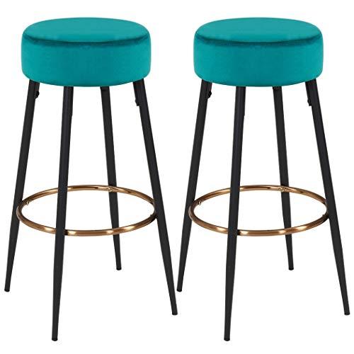 Juego de 2 taburetes de Bar Tela (Terciopelo) Redondo Patas de Metal Altura 80 cm seleccion de Color Duhome 5168A, Color:Verde Azulado, Material:Terciopelo