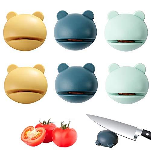 Senteen Affilacoltelli Manuale, 6pcs Affilatore di Coltelli Professionale Affilalama Portatile Knife Sharpener Multifunzione Utensili da Cucina Adatto a Tutti i Tipi di Coltelli in Cucina