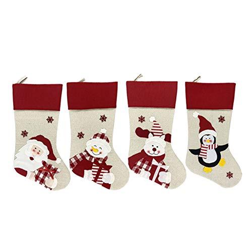 ZHANMAUU Christmas Socks Socks Holder Elk Bag Home Party Table Dinner Decoration Tableware Ornaments Santa Reindeer Xmas Bags 4pcs 1026