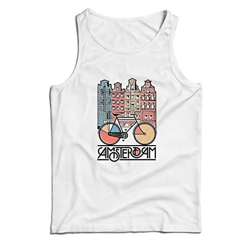 lepni.me Camisetas de Tirantes para Hombre Bicicleta Vintage de la Ciudad de Ámsterdam, Holanda, Viajes de Vacaciones (Large Blanco Multicolor)