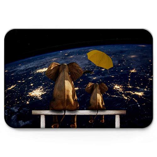 Teppich Teppiche Carpet Taracarpet Fußmatte Elefanten beobachten Universum lustiger Regenschirm Vorleger 40X60CM
