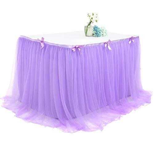 Tafelrok tafelkleed voor bruiloft baby shower verjaardag party rok tafelrok decoratie huis 430 x 77 violet