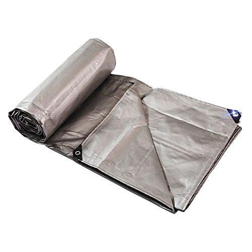 HR Dikker Regendicht Dekzeil met Oogjes Zware Duty Waterdichte Tarp Sheet Plastic Luifel Zonnescherm, 220gramm/vierkant, Zilver Grijs 5m x 7m