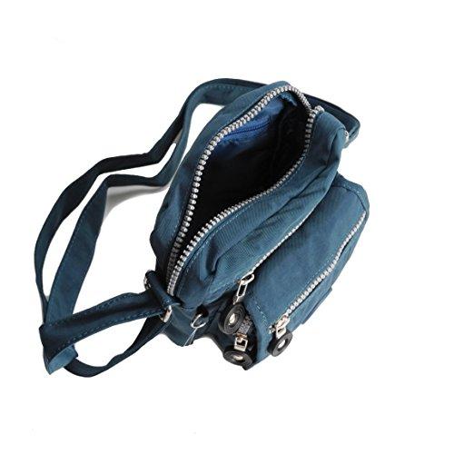 Street Bag Mini borsa a tracolla Tempo libero Borsa in nylon per fotocamera, presentato dalla ZMOKA® in vari colori BLUE