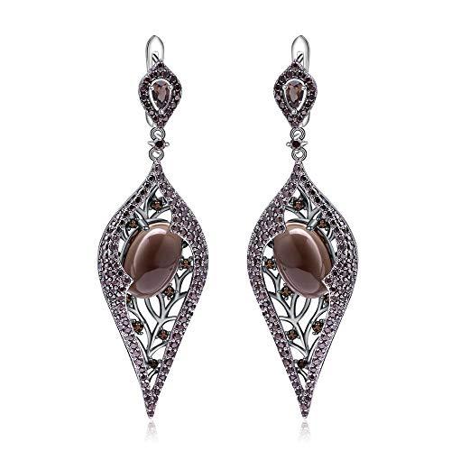 Natürliche Rauchquarz Lange Ohrringe 925 Vintage Gothic Tropfen Ohrringe Für Frauen Party Aretes