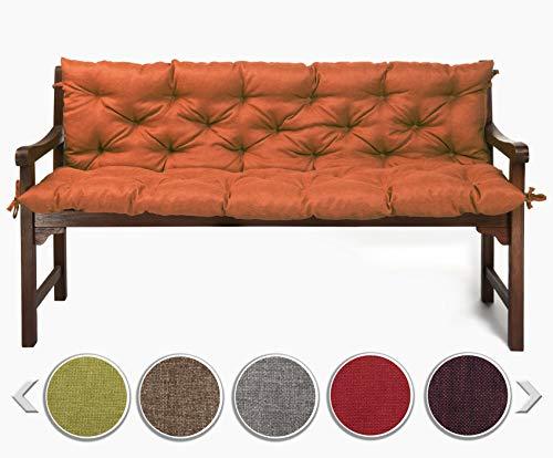 sunnypillow Bankauflage Stuhlkissen Bankkissen 100 x 50 x 50 cm Sitzkissen und Rückenkissen für Hollywoodschaukel Polsterauflage Auflage für Gartenbank viele Farben und Größen zur Auswahl Orange