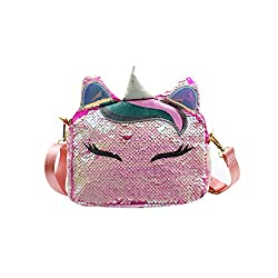 Unicorn White-2 Sequins Crossbody Shoulder Bag