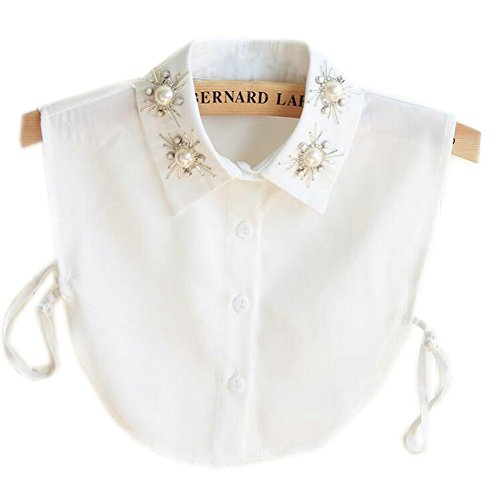 Joyci Stylish Pearl Peter Pan Fake Collar Detachable Shirt Dickey False Collar (White)
